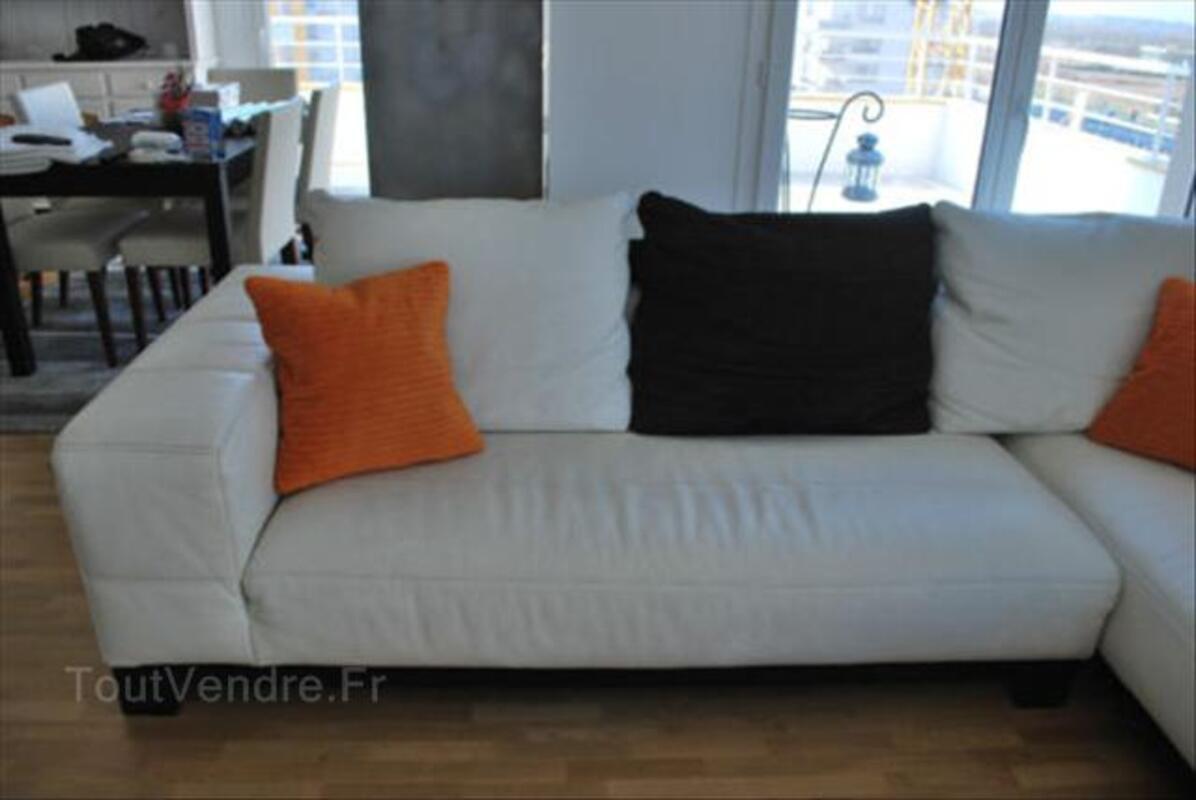 Canapé d'angle en cuir blanc cassé 56465748