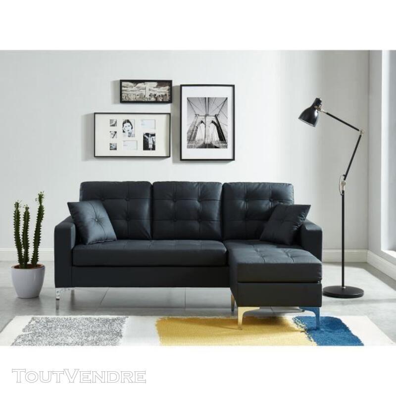 Canapé d'angle MIRISA 4 places PU noir DAV3584174454090 717947773