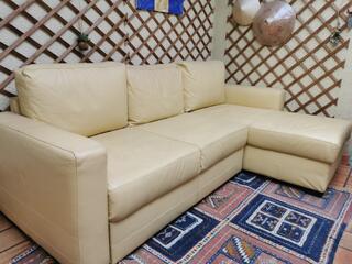 Canapé d angle simili cuir creme