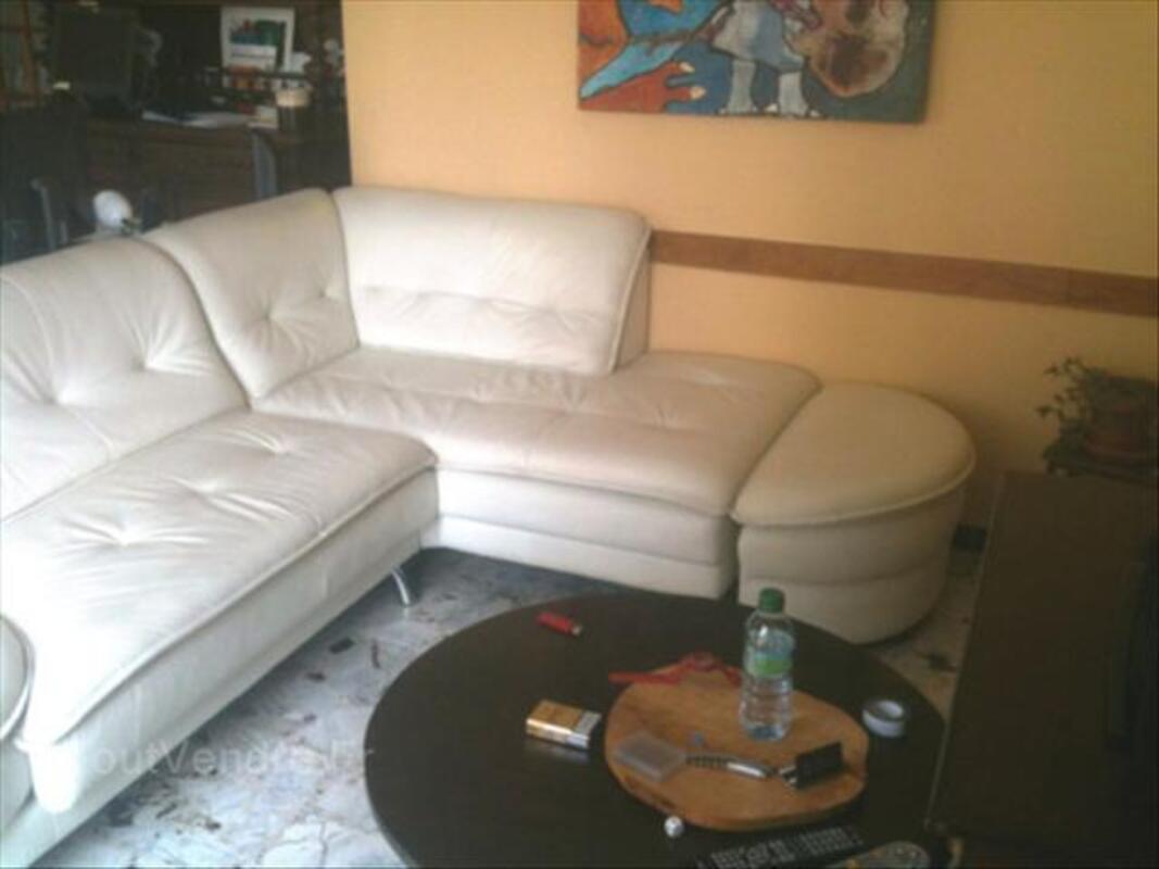 Canapé double d'angle CUIR BLANC CASSE 64511946