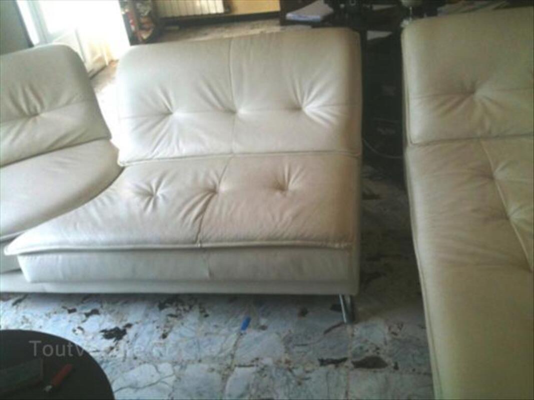 Canapé double d'angle CUIR BLANC CASSE 64511948