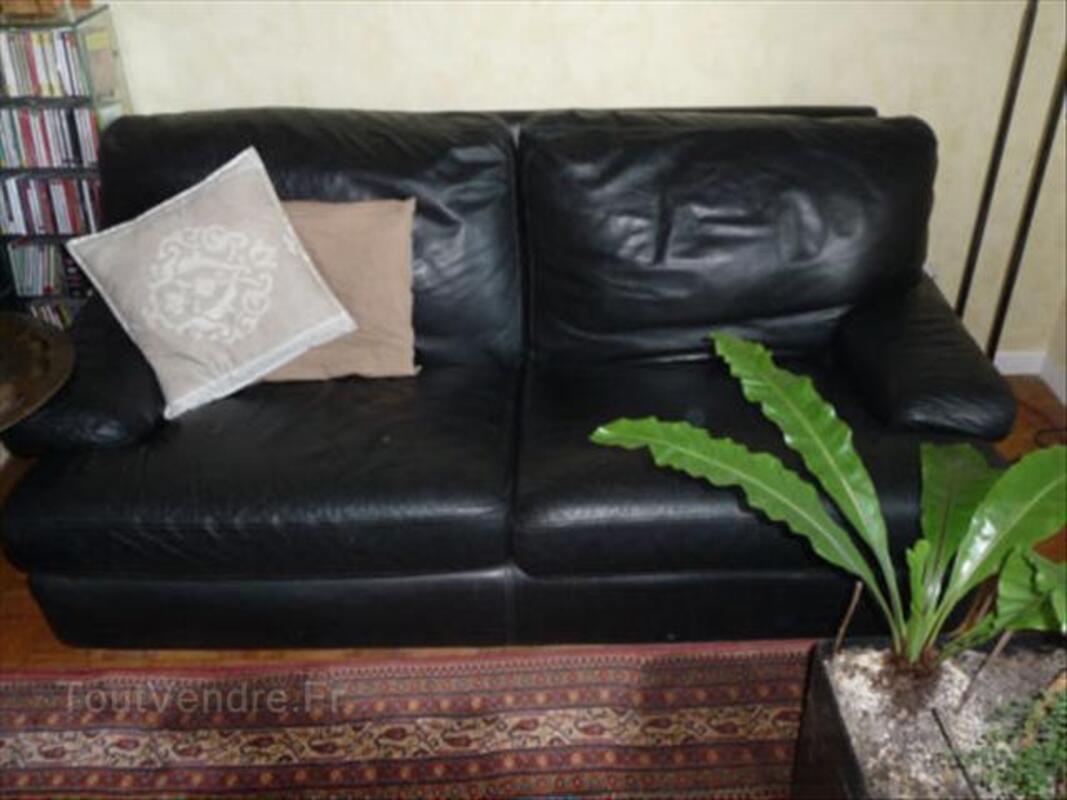 Canapé et 2 fauteuils cuir noir 64570968