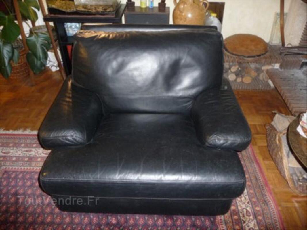 Canapé et 2 fauteuils cuir noir 64570969