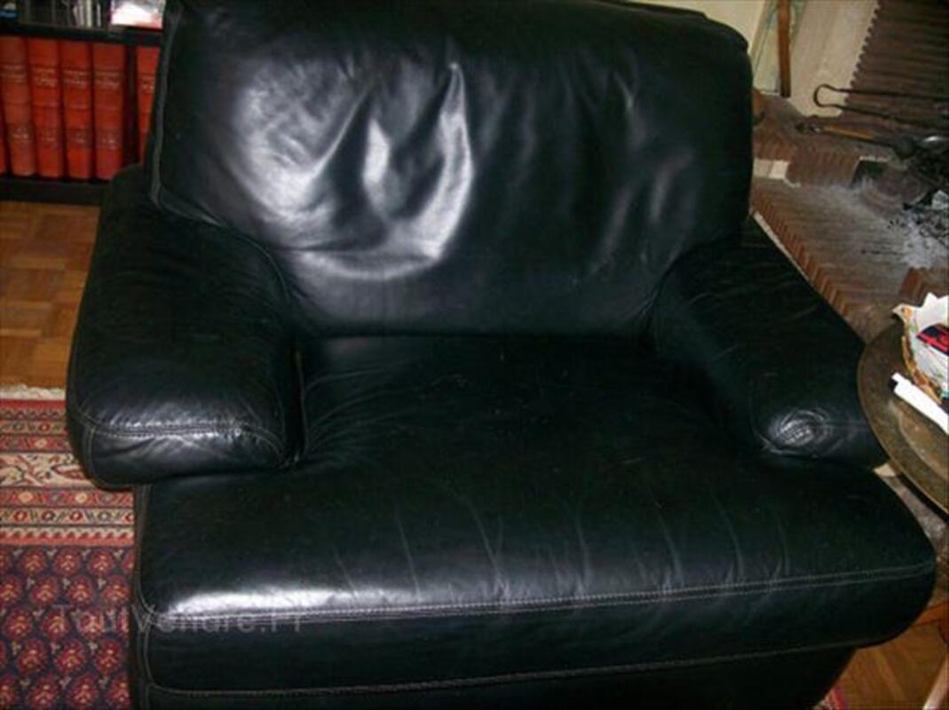 Canapé et 2 fauteuils cuir noir 64570970