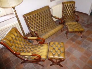 Canapé et fauteuils Chesterfield cuir 5 pièces