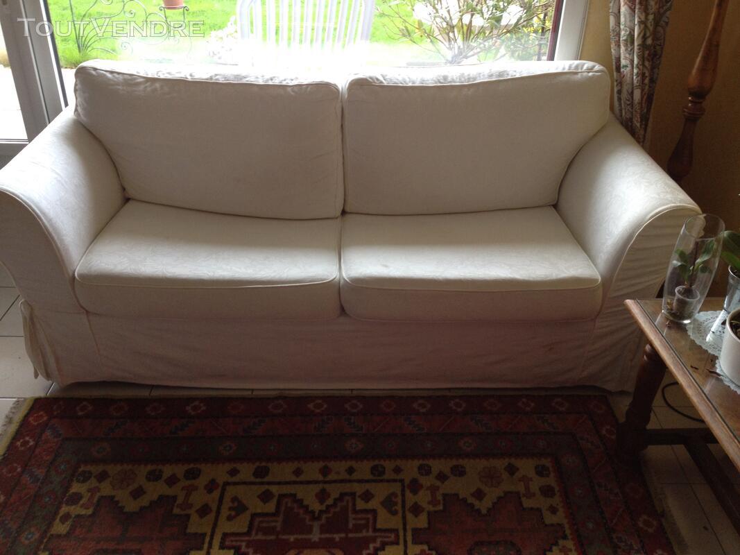Canapé-lit 3 places blanc cassé 123993702