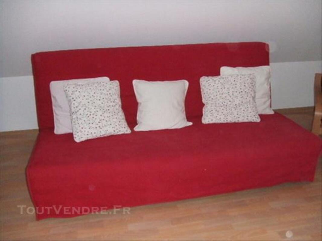 Canapé-lit 3 places rouge 77371327