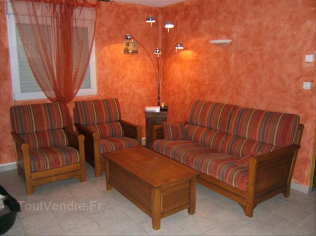 Canapé rustique 3 places + 2 fauteuils 64401276