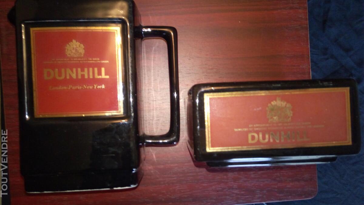 Cendrier&Pichet Dunhill Noir&Rouge en Céramique en TBE