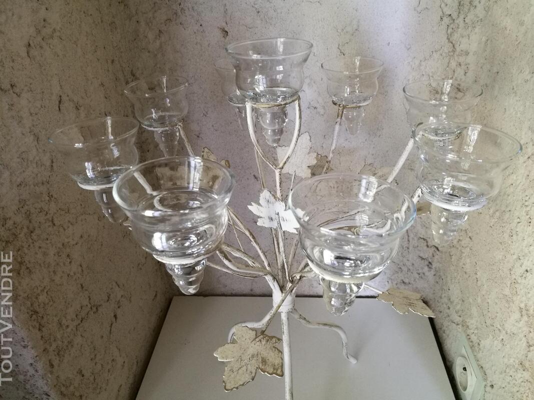 Chandelier Bougeoir Métal / coupelles verre / Tripode suxn 390071370