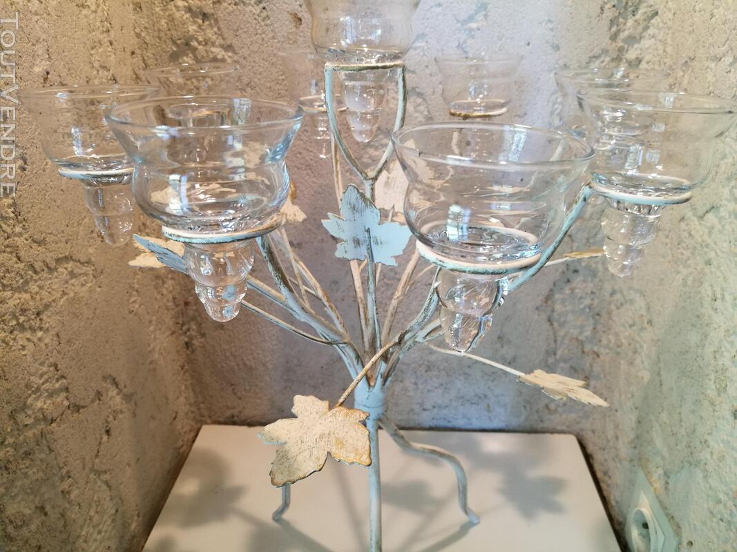 Chandelier Bougeoir Métal / coupelles verre / Tripode suxn 390072339