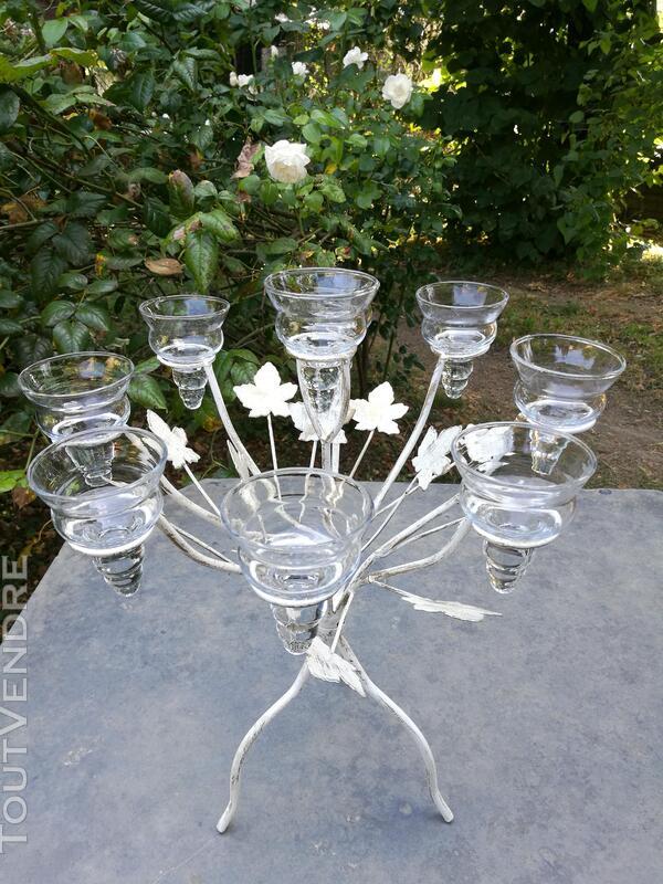 Chandelier Bougeoir Métal / coupelles verre / Tripode suxn 390074511