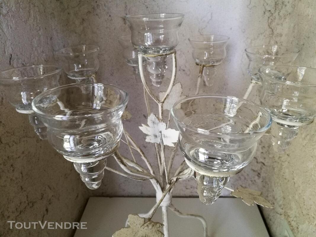 Chandelier Bougeoir Métal / coupelles verre / Tripode suxn 390081459