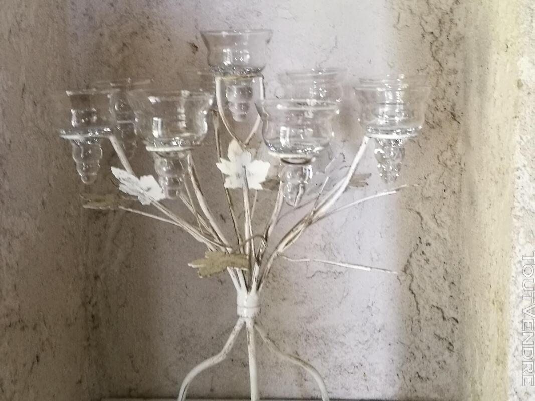 Chandelier Bougeoir Métal / coupelles verre / Tripode suxn 390090618