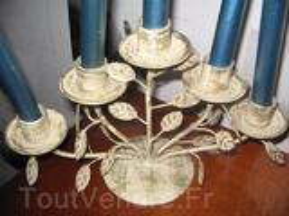 Chandelier joli bougeoir 5 branches fer forgé, neuf