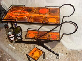 Chariot bar fer forgé et céramiques de Vallauris