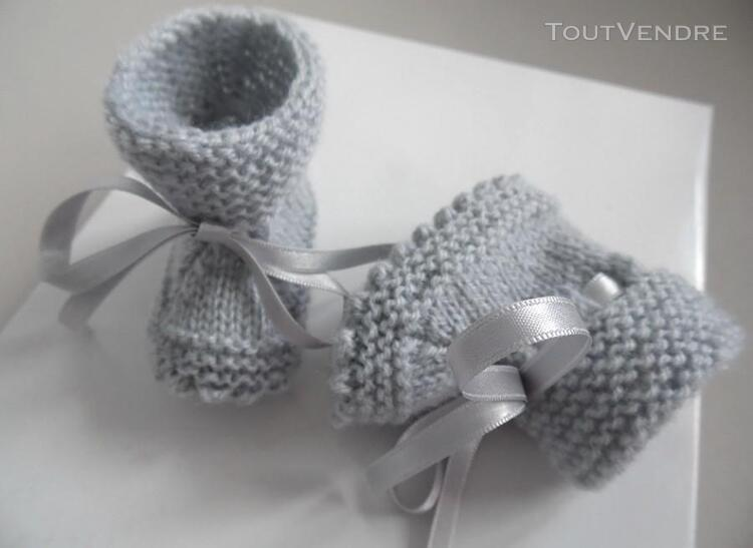 Chaussons GRIS à crans layette bébé tricot laine 253564153