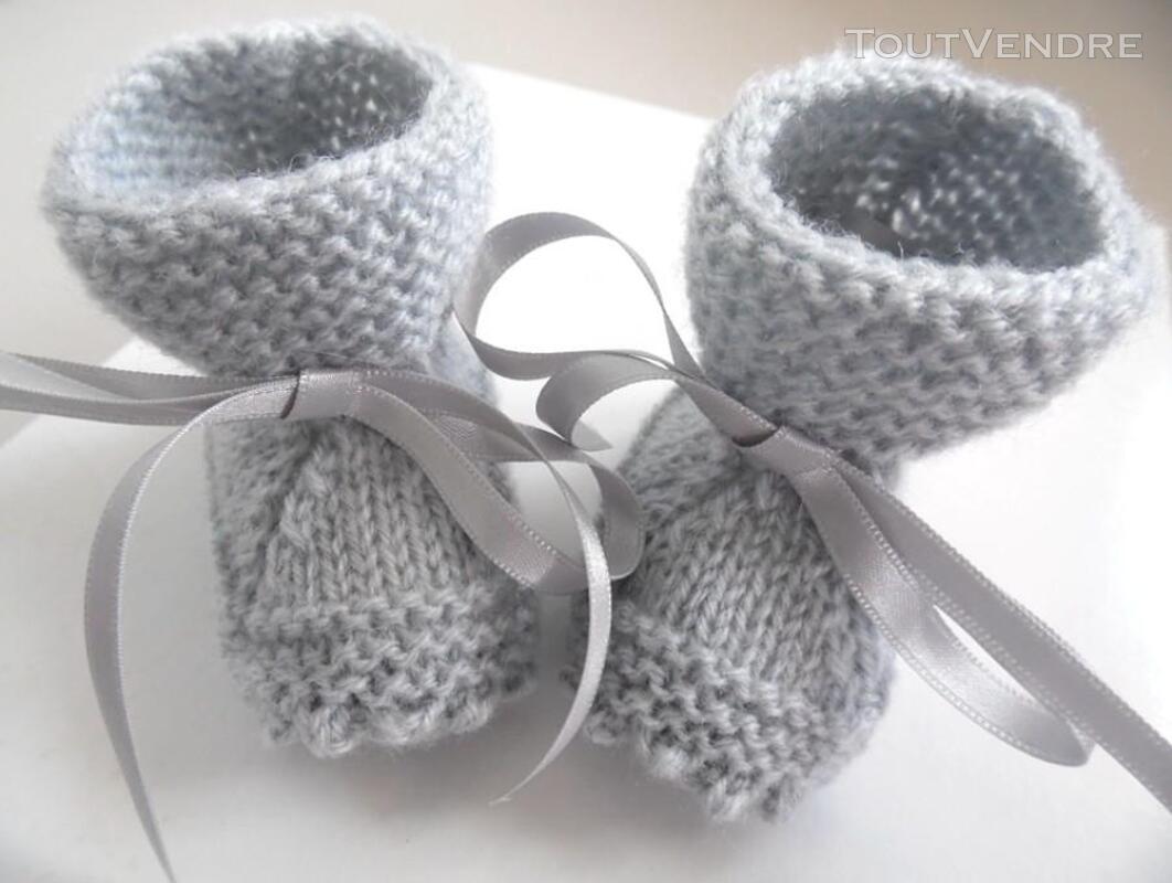 Chaussons GRIS à crans layette bébé tricot laine 253564156