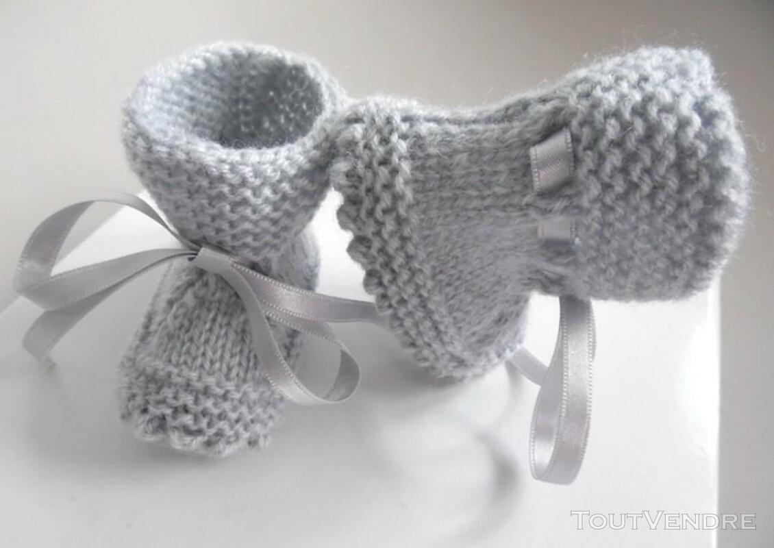 Chaussons GRIS à crans layette bébé tricot laine 253564162