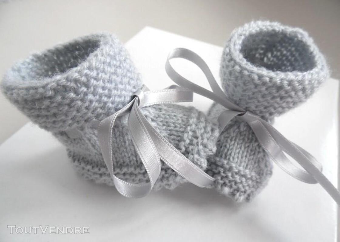 Chaussons GRIS à crans layette bébé tricot laine 253564165