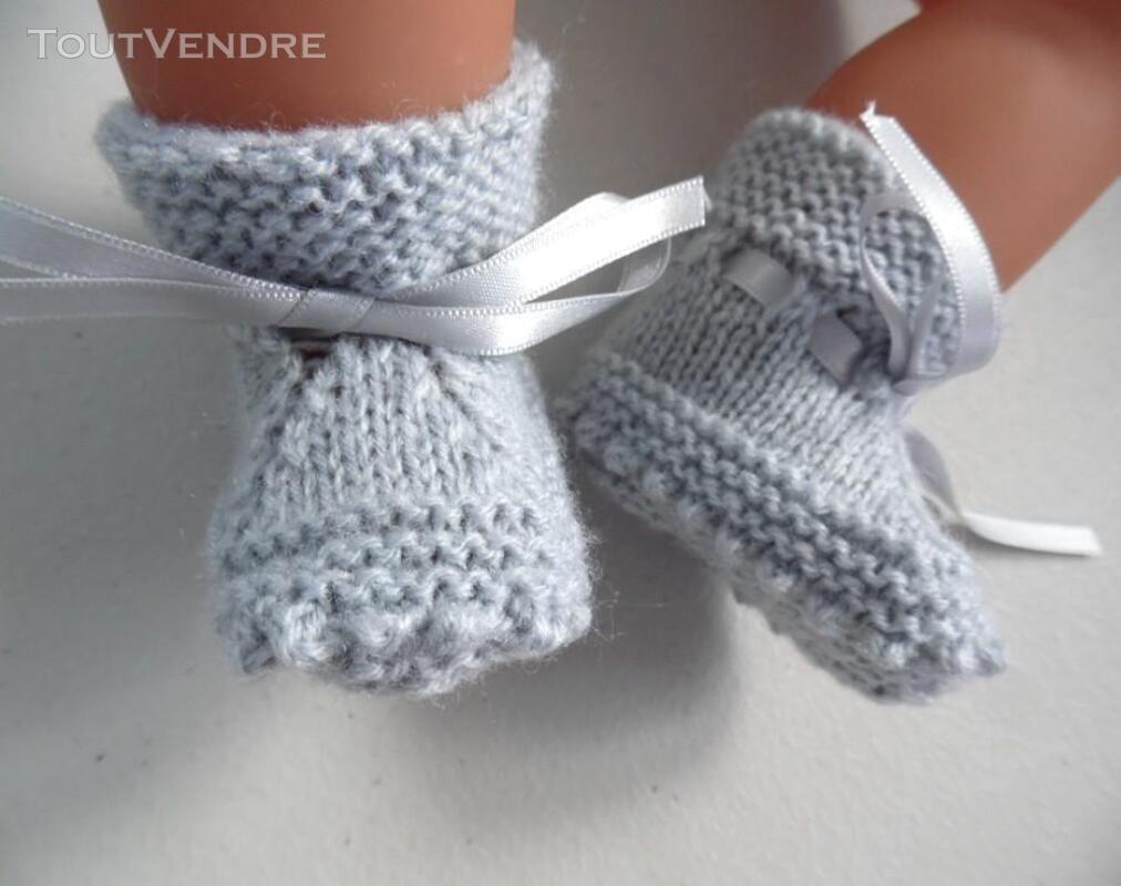Chaussons GRIS à crans layette bébé tricot laine 253564171