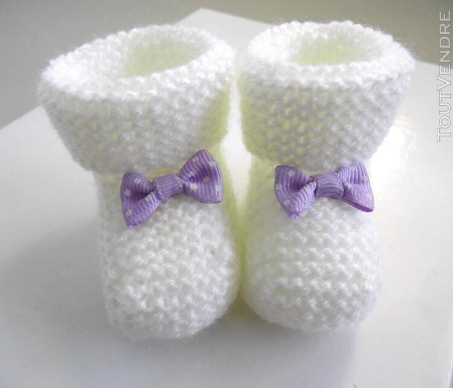 Chaussons naissance tricot laine bébé fait-main 165312448