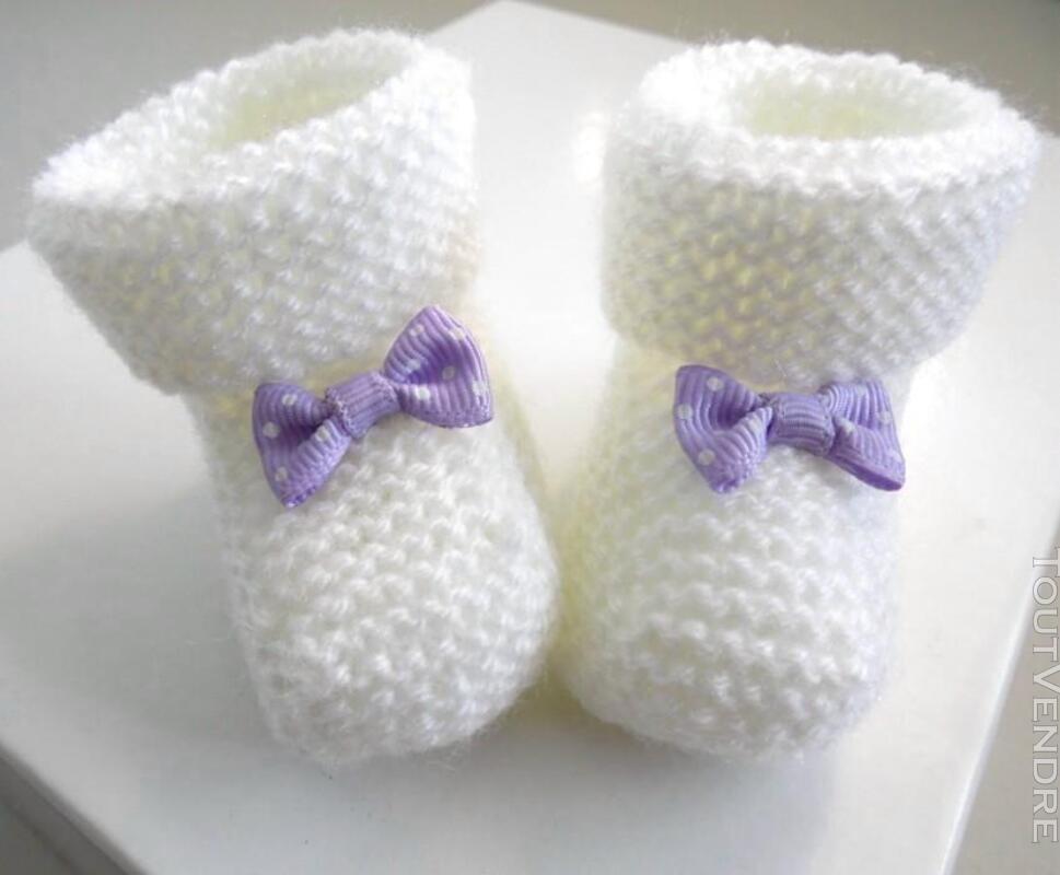 Chaussons naissance tricot laine bébé fait-main 165312454