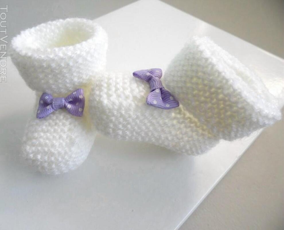 Chaussons naissance tricot laine bébé fait-main 165312457