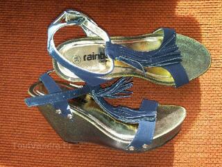 Chaussure compensée à frange