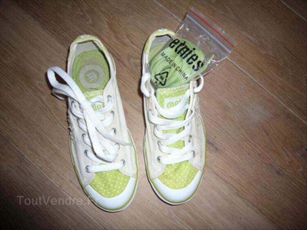 Chaussures Etnies blanches et vertes 89170888