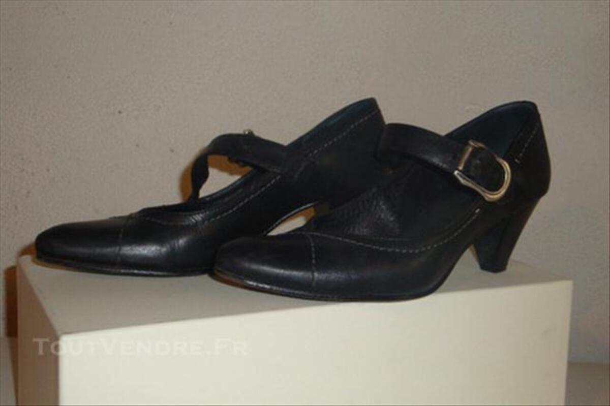 Chaussures femme, cuir noir, 39 76739923