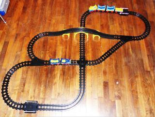 Circuit trains à pousser + rails PLAYMOBIL 1 2 3 TBE