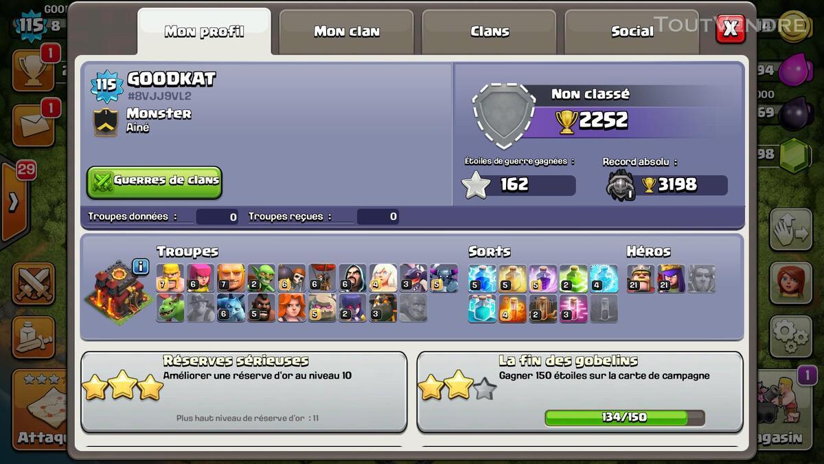Clash of clans 115 +clsh royale niv10 (5legendares)+pokemon 146850780
