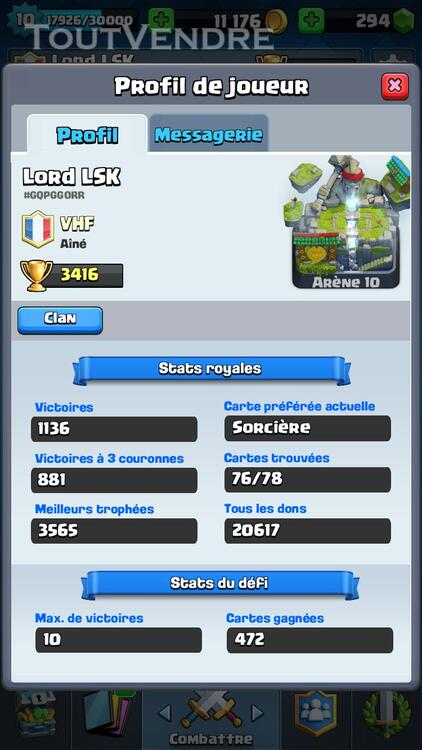 Clash Royale Level 10 Arènes Legendaire 308686258