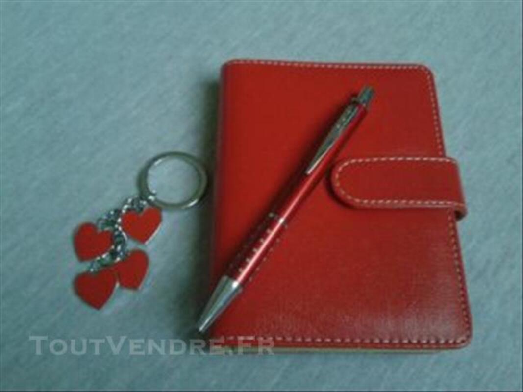 Coffret agenda soldé stylo porte clef rouge bleu fleur 77136159