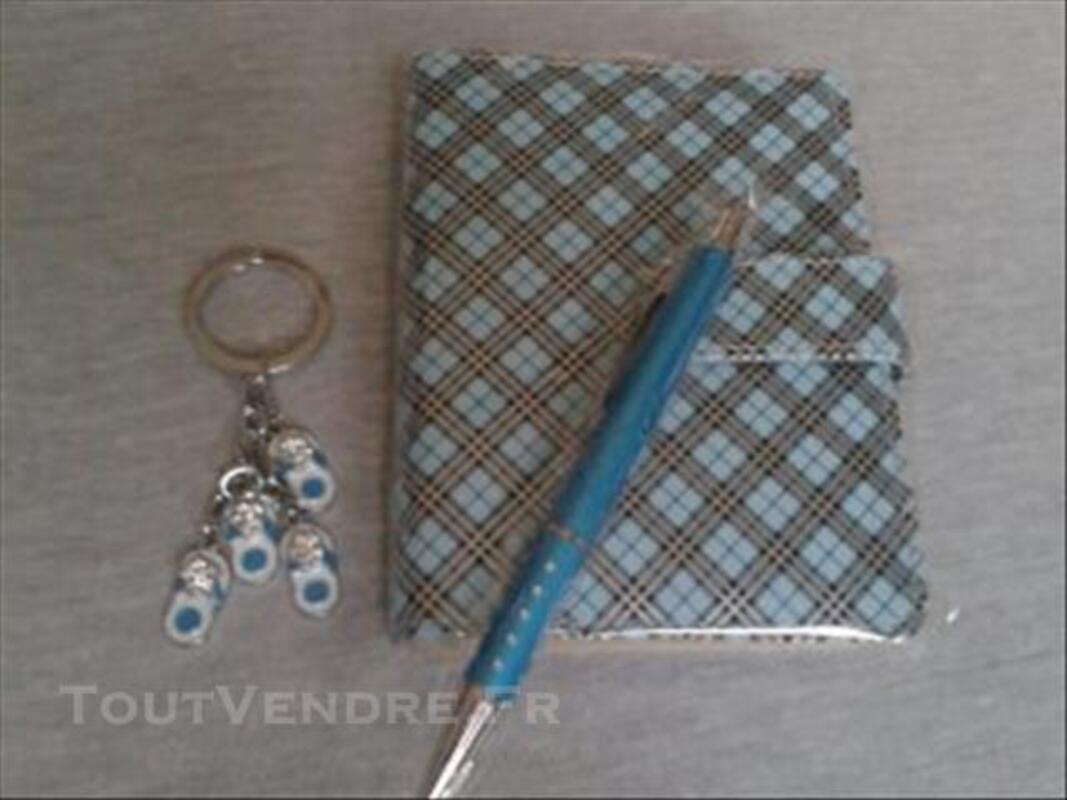 Coffret agenda soldé stylo porte clef rouge bleu fleur 77136176