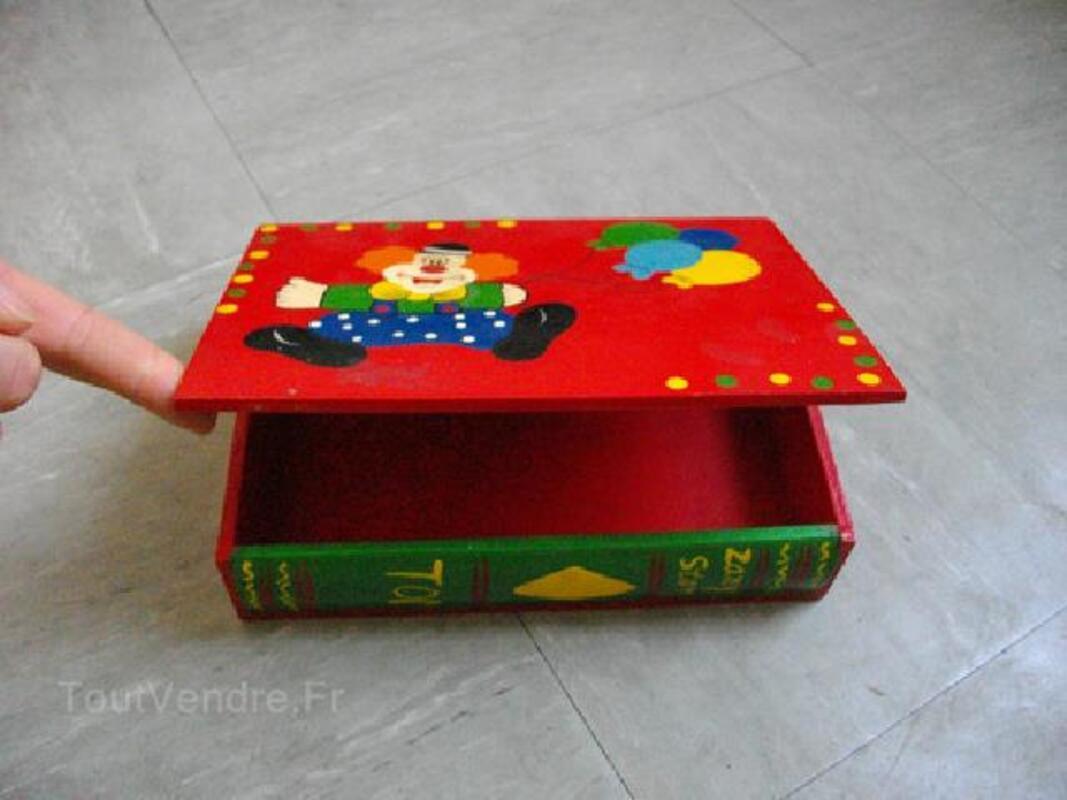 Coffret bois peint pour enfant livre / clown 90505339