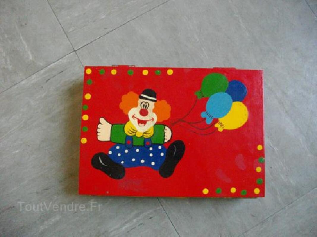 Coffret bois peint pour enfant livre / clown 90505341