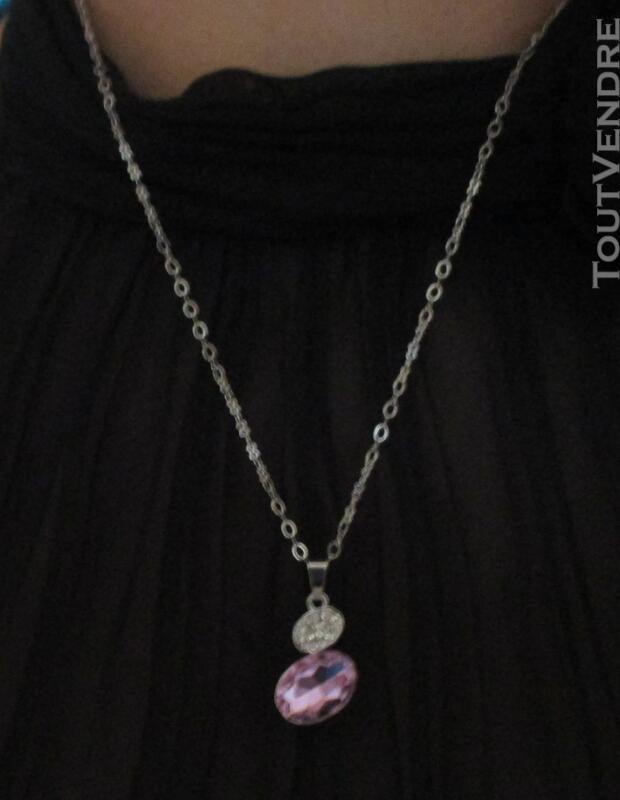 Collier femme métal chaine pendentif strass cristal diamant