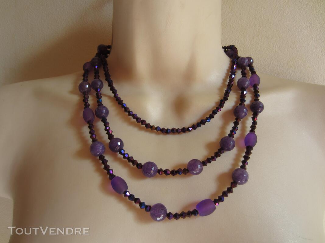 Collier multi rangs violet 442834811