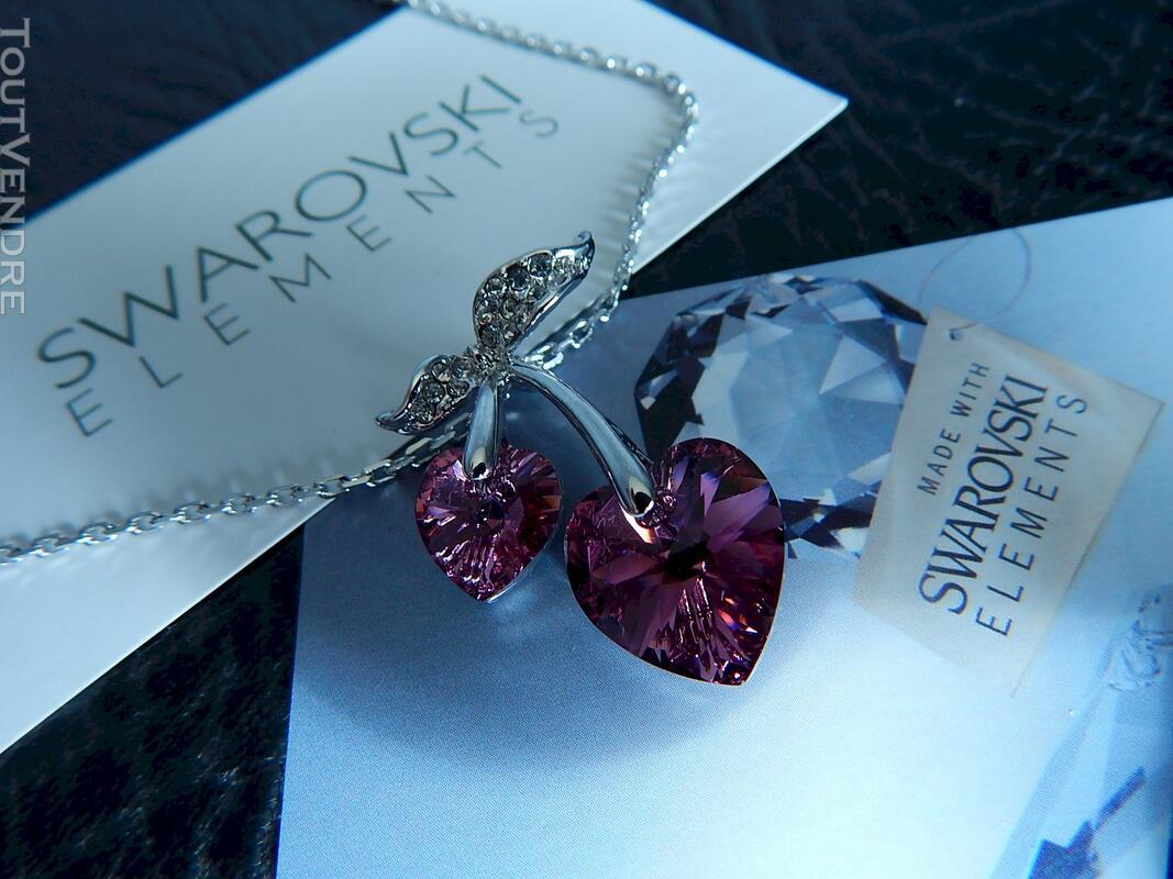 Collier plaqué or blanc Coeur en cristal swarovski rose 115052100