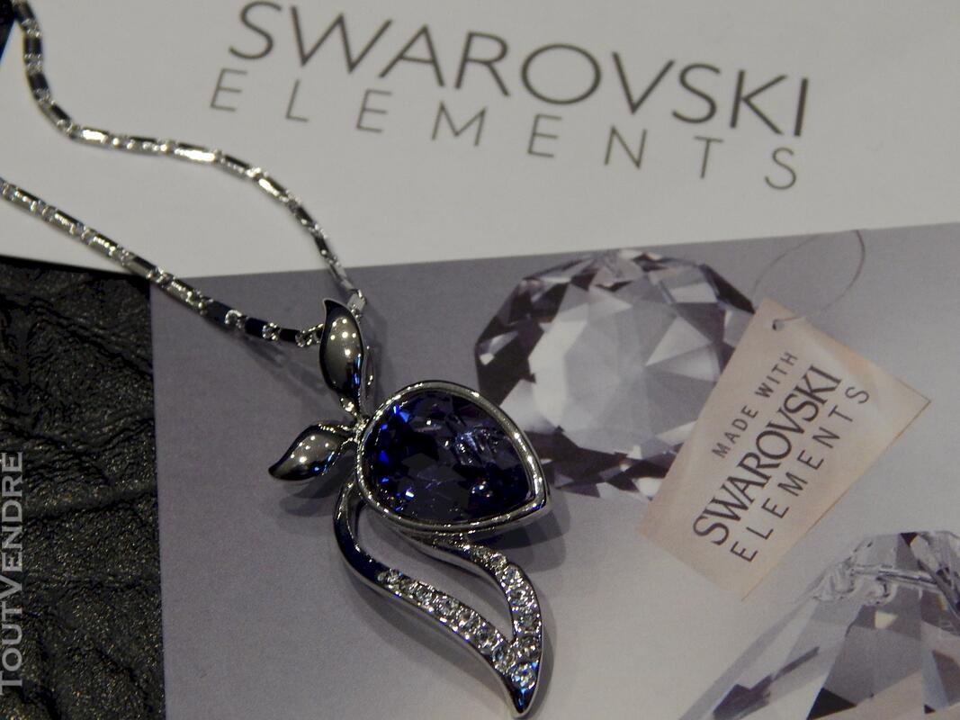 Collier plaqué or blanc serti cristal swarovski violet 116174392
