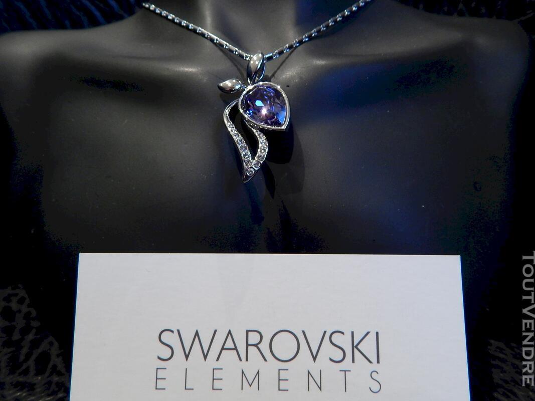 Collier plaqué or blanc serti cristal swarovski violet 116174393