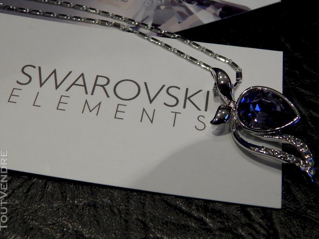 Collier plaqué or blanc serti cristal swarovski violet 116174394