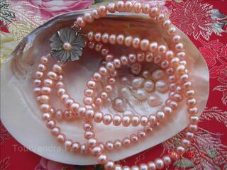 Collier -Véritables Perles de Culture d'Eau Douce
