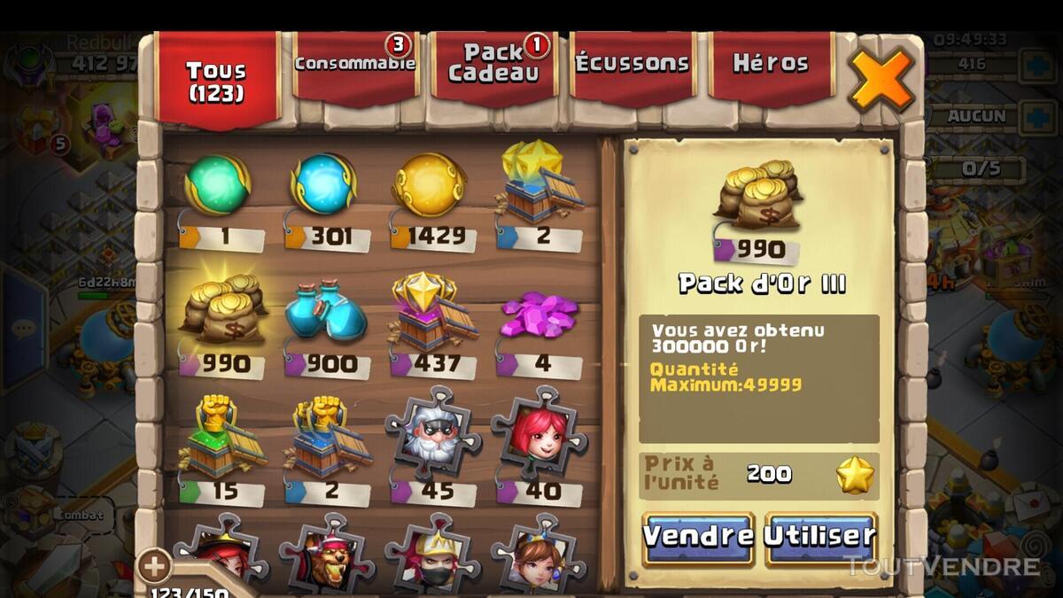 Compte castle clash evo 30 full esquive 641001454