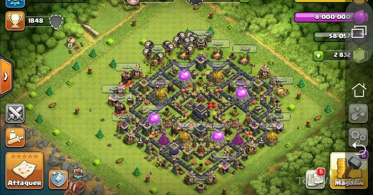 Compte Clash of clan Hdv 9 max +2800 gemmes 618513180