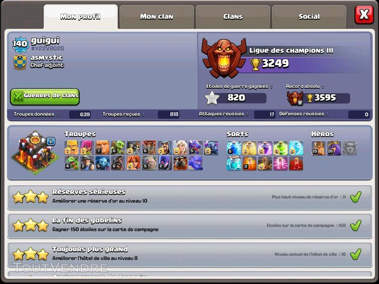 Compte clash of clan HDV10 maxé 173203494