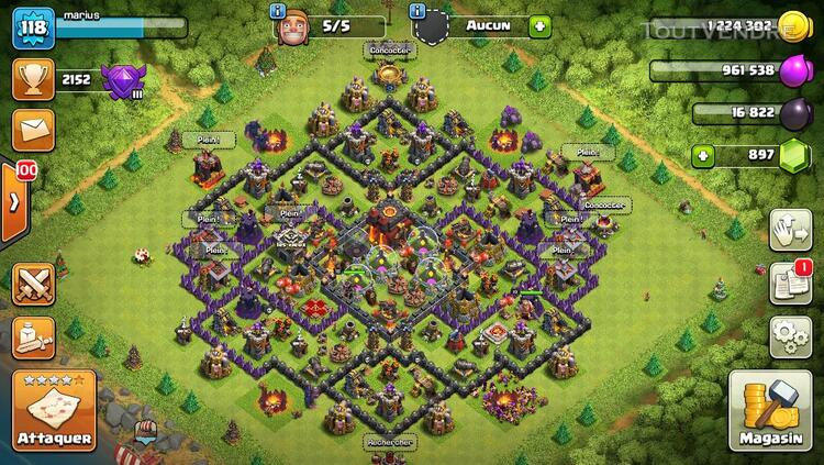 Compte clash of clan level 118 281134984