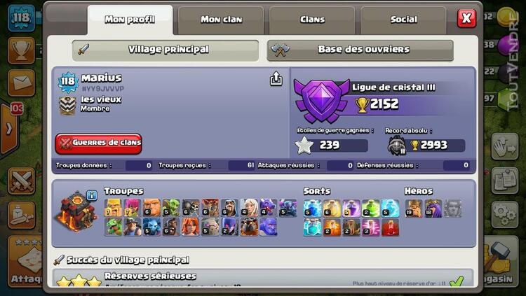 Compte clash of clan level 118 281134987